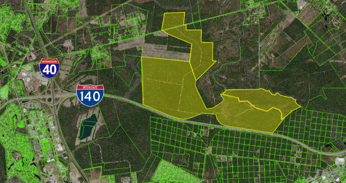 Corbett industries selling 17000 acres in cape fear region an aerial illustration shows a more than 840 acre tract for sale by corbett industries near interstate 140 in northern new hanover county sciox Gallery